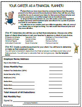Personal Finance Project, Become a  Math Financial Planner for a Celebrity!