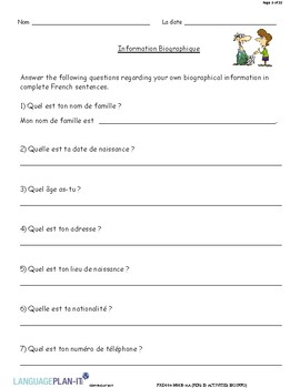 PERSONAL ID ACTIVITIES, BIOGRAPHICAL INFORMATION (FRENCH)