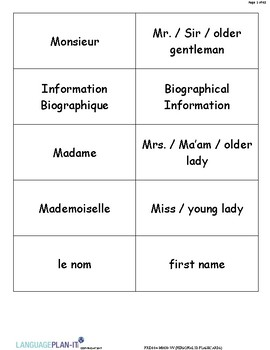 PERSONAL ID FLASHCARDS (FRENCH)