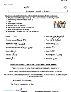 PERSONAL ID PROJECT, ALL ABOUT ME (ARABIC)