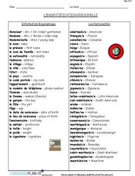 PERSONAL ID VOCABULARY (FRENCH)