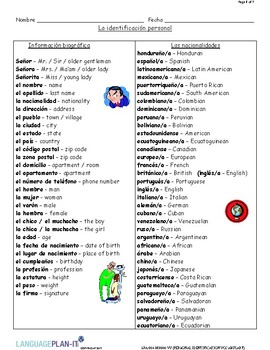 PERSONAL ID VOCABULARY (SPANISH)