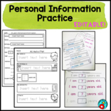 PERSONAL INFORMATION AND NAME PRACTICE