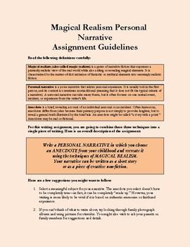 PERSONAL NARRATIVE USING MAGICAL REALISM