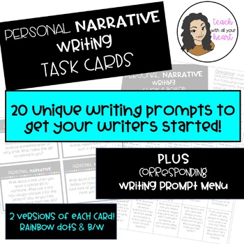 PERSONAL NARRATIVE Writing Task Cards with Choice Board / Writing Menu