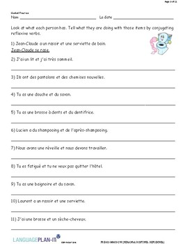 PERSONAL ROUTINES, REFLEXIVES (FRENCH)