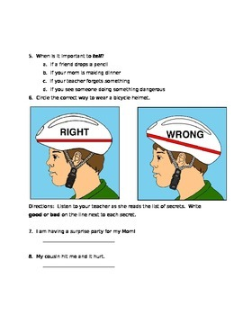 PERSONAL SAFETY QUIZ- Primary