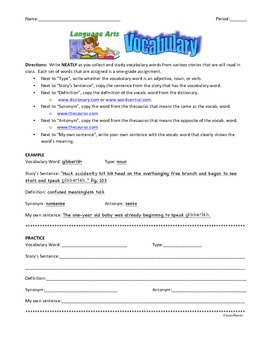 PERSONAL VOCABULARY PACKET PER STUDENT
