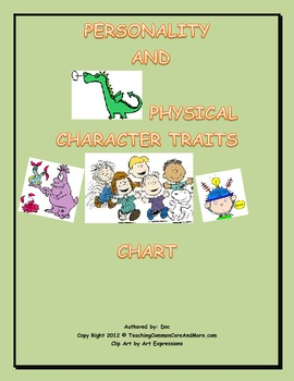 PERSONALITY AND PHYSICAL CHARACTER TRAITS CHART