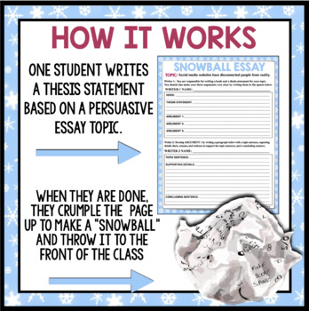 PERSUASIVE ESSAY WRITING: SNOWBALL COLLABORATIVE ACTIVITY