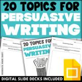 PERSUASIVE ESSAY TOPICS Opinion Writing Prompts Digital Wo