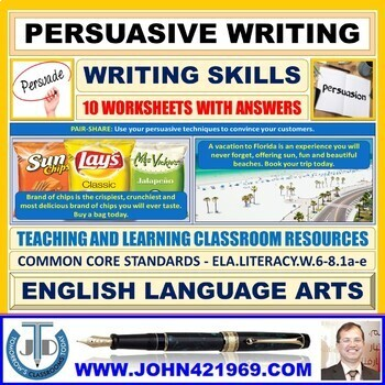 PERSUASIVE WRITING: 15 WORKSHEETS WITH ANSWERS