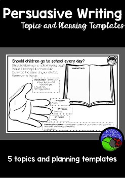 PERSUASIVE WRITING ~ 5 writing prompts and planning templates