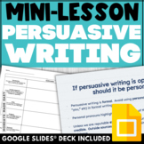 PERSUASIVE WRITING LESSON Digital Worksheets and Graphic O