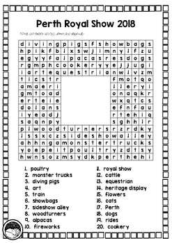 PERTH ROYAL SHOW 2018 word search