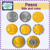 MEXICAN PESOS - Money Clipart - MEXICO- Coins and bills