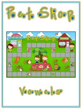PET SHOP Vowels- ELA First Grade Folder Game - Word Work Center