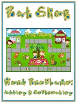 PET SHOP - Word Problems Adding & Subtracting - Math Folder Game