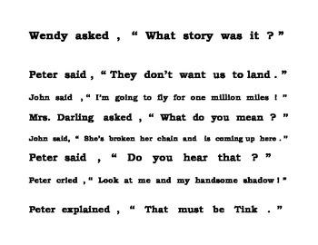 PETER PAN punctuating dialogue