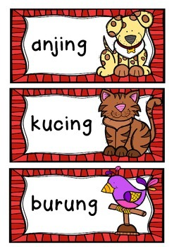 PETS Binatang Piliharaan Flashcards BAHASA INDONESIA indonesian