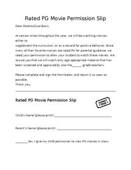 PG Movie Permission Slip ENG & SPAN