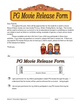 PG Movie Release Form