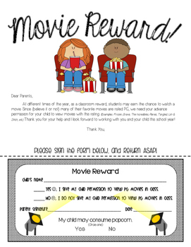 PG Movie Viewing Permission Slip