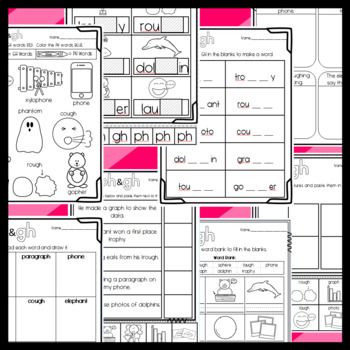 PH and GH Worksheets: Cut and Paste Sorts, Cloze, Read and Draw and more!