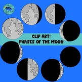 PHASES OF THE MOON CLIP ART: 15 PNG IMAGES- GREYSCALE AND BW