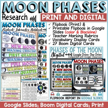 SOLAR SYSTEM:  PHASES OF THE MOON FLIPBOOK