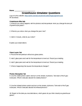 PHET Greenhouse Gas Simulator Questions