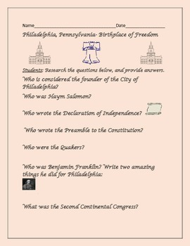 PHILADELPHIA AND THE BIRTHPLACE OF FREEDOM WORKSHEET