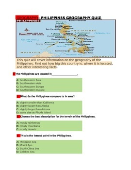 PHILIPPINES GEOGRAPHY QUIZ for 4th Grade
