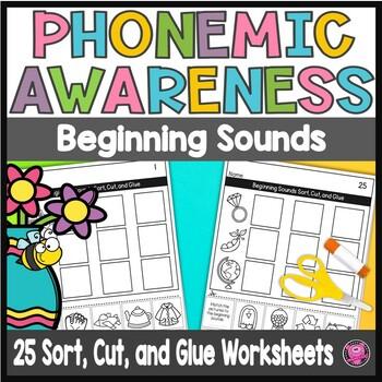 Phonemic Awareness Initial Sounds Print and Go Worksheets