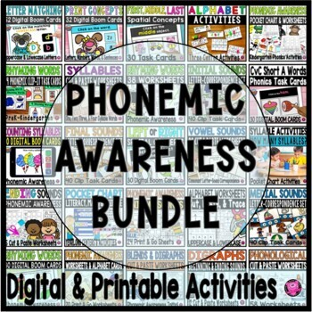 BEGINNING SOUNDS PHONEMIC AWARENESS POCKET CHART GROWING BUNDLE