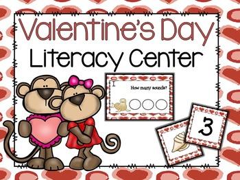 Valentine's Day Literacy Center- Phonemic Awareness