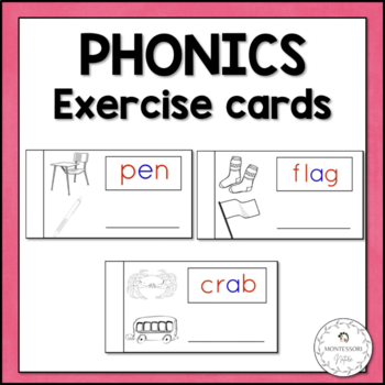 PHONETIC WORD EXERCISE CARDS MONTESSORI READING WRITING