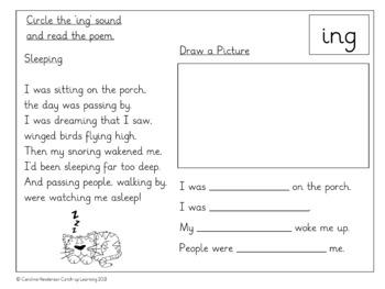{rhyming words for kindergarten} {PHONIC POEMS} {ing worksheets}