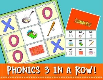 """GAMES:  TIC-TAC-TOE PHONICS 3 IN A ROW!  (CVC """"Short A"""")"""