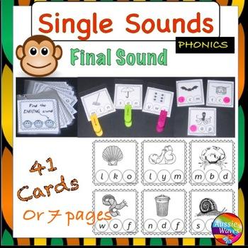 PHONICS or SOUNDS ACTIVITY CARDS for centers, Short FINAL Letter Sounds
