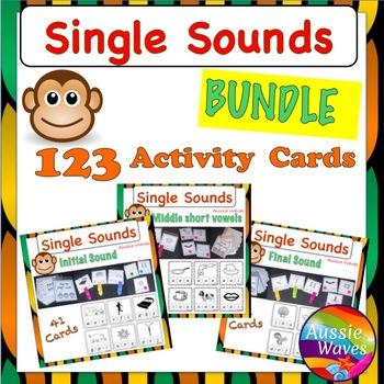 PHONICS or SOUNDS ACTIVITY CARD BUNDLE *Initial Sound *Middle Vowel *Final Sound