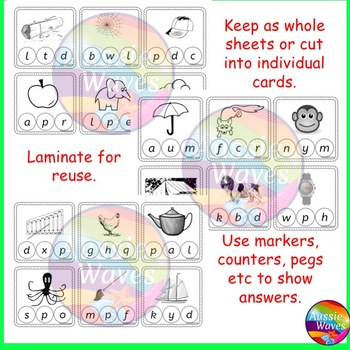 Printable PHONICS or SOUNDS Center ACTIVITY CARDS  Single, short INITIAL Sounds