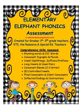 PHONICS Assessment K-1-2-3 and RTI by Elementary Education Curriculum