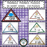 PHONICS BUNDLE SHORT VOWELS TRIANGLE PUZZLES CVC ONSET AND