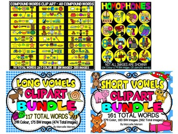 MEGA PHONICS CLIPART BUNDLE; Alphabet, long vowel, short vowels, digraphs,