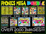 PHONICS MEGA CLIPART BUNDLE; Alphabet, long vowel, short vowels, digraphs,