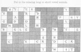CROSSWORD PUZZLE Phonics: Short & Long Vowels - 9 Letter Answers Short / 9 Long