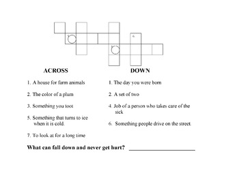 CROSSWORD PUZZLE: Phonics r Controlled Vowels w/ RIDDLE TO SOLVE