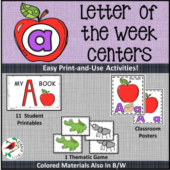 PHONICS LITERACY CENTERS FOR LETTER A  LOW PREP LETTER OF THE WEEK