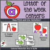 PHONICS LETTER OF THE WEEK A LITERACY CENTERS